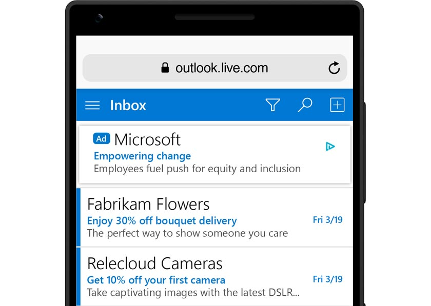 Example of a mobile text ad on Outlook.com