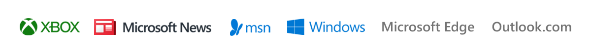 Brand logos for Xbox, Microsoft News, MSN, Windows, Microsoft Edge, and Outlook.com