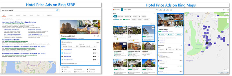 Product views of Hotel Price Ads as they would appear on the Microsoft Bing search results page, and on Bing Maps.