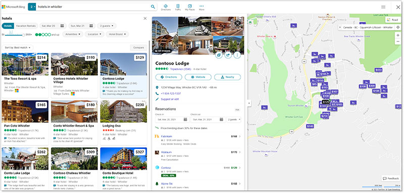 Product view of a Property Promotion Ad, as it would appear on the Microsoft Bing Maps page.