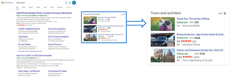 Product view of a Tours and Activities Ad, as it would appear on the Microsoft Bing search results page.